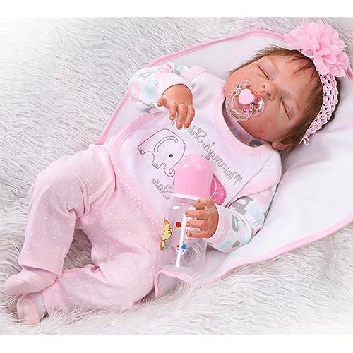 NPK 57cm Reborn Bebé de Cuerpo Entero de Silicona de Vinilo Babbo Hecho a Mano Cuerpo de la niña de la muñeca Rebote más Popular Preferido Regalo de cumpleaños de Juguete Regalo Exquisito