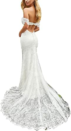 CGown Women's Lace Off The Shoulder Mermaid Wedding Dresses for Bride with Train Bridal Ball Gown