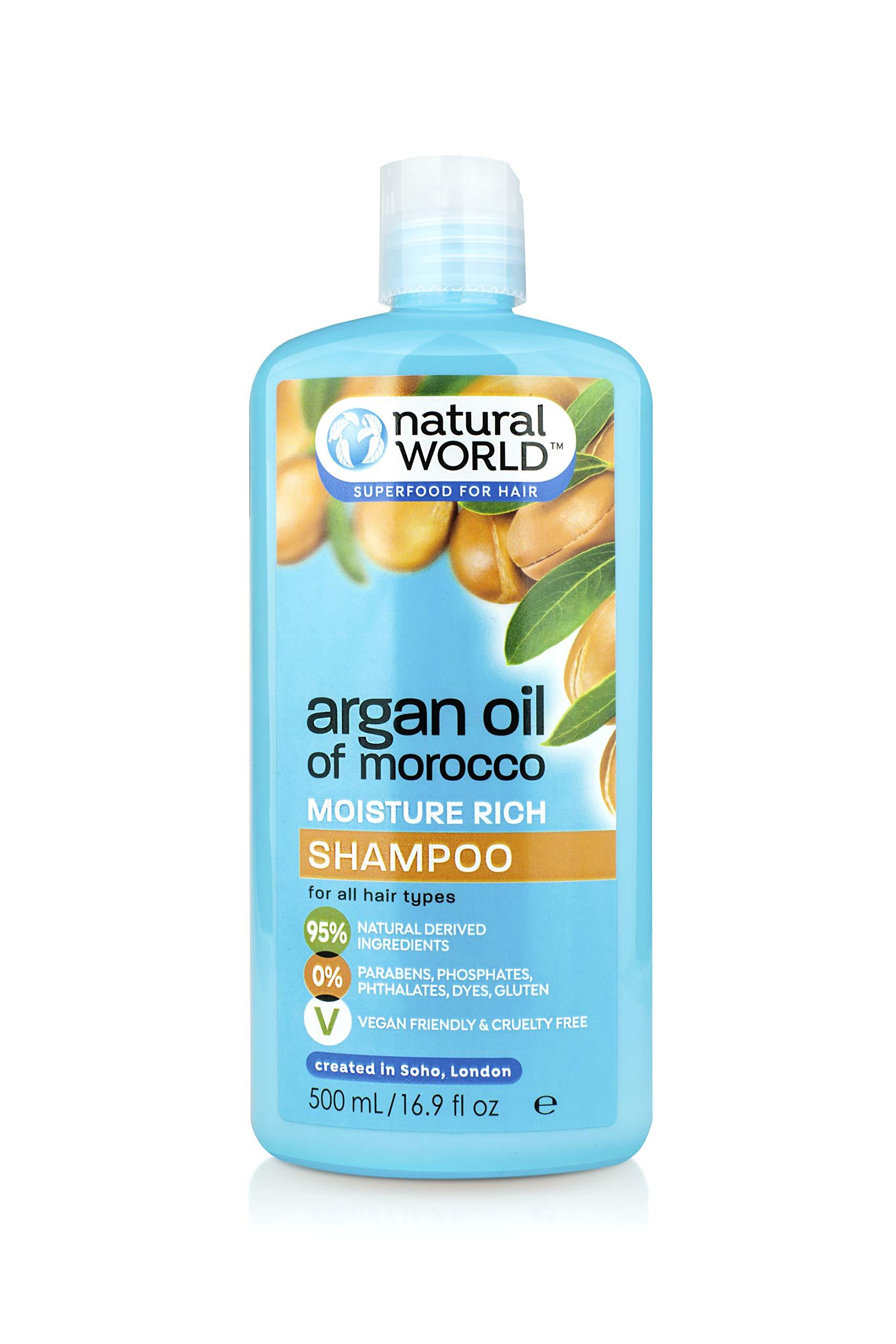 Natural World Moroccan Argan Oil Moisture Rich Shampoo 500ml