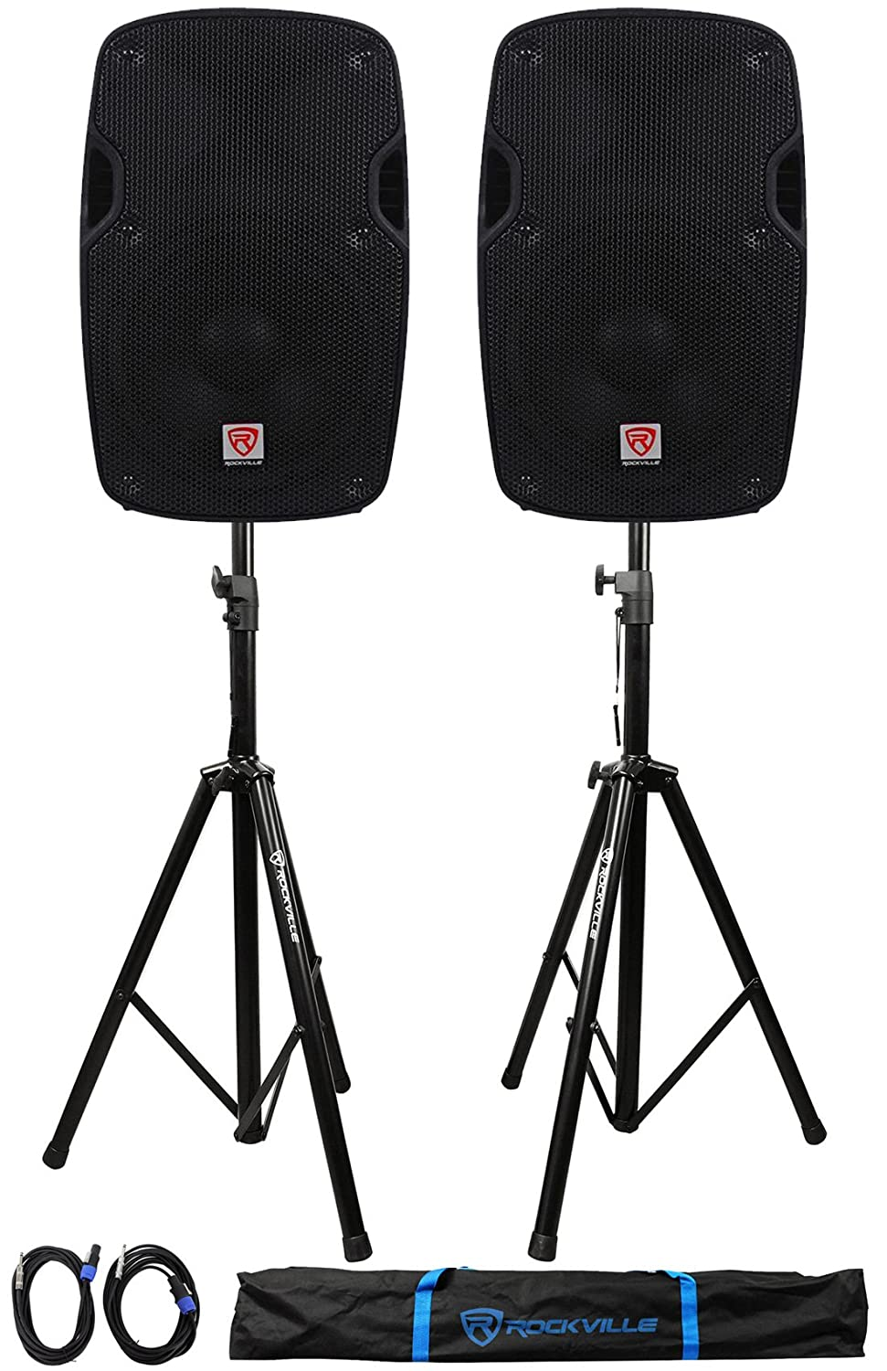 2) Rockville SPG88 8 Passive 800W DJ PA Speakers 8 Ohm 2) Stands+2) Cables+Case 4341197797