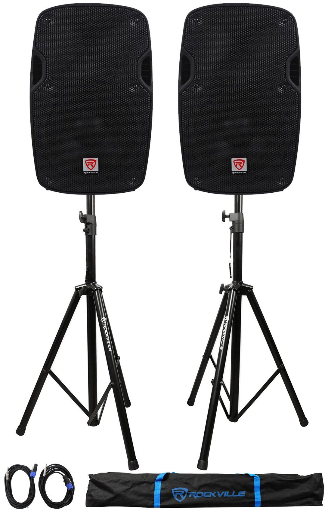 2) Rockville SPG84 8 Passive 800W DJ PA Speakers 4 Ohm 2) Stands+2) Cables+Case by Rockville