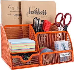 EasyPAG Mesh Desktop Organizer 6 Compartment Office Desk Organizers Supply Caddy with Drawer, Orange