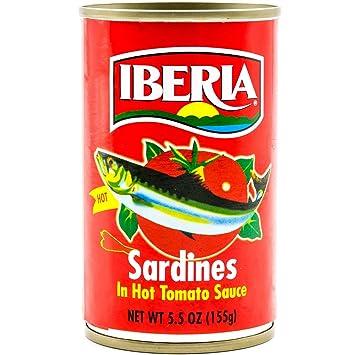 Iberia Sardines In Hot Tomato Sauce, 5.5 oz, Sardinas en Salsa de Tomate Picante