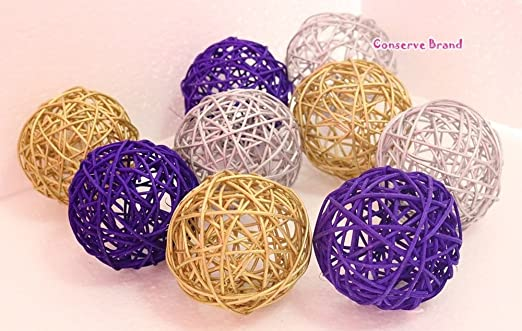 Natural Medium Wicker Balls With Two Tone Color Light Blue And White For DIY Vase And Bowl Filler Ornament Thailands Gifts Decorative Spheres Balls Perfect For Decoration And Party 3.5 inch 6 Pcs