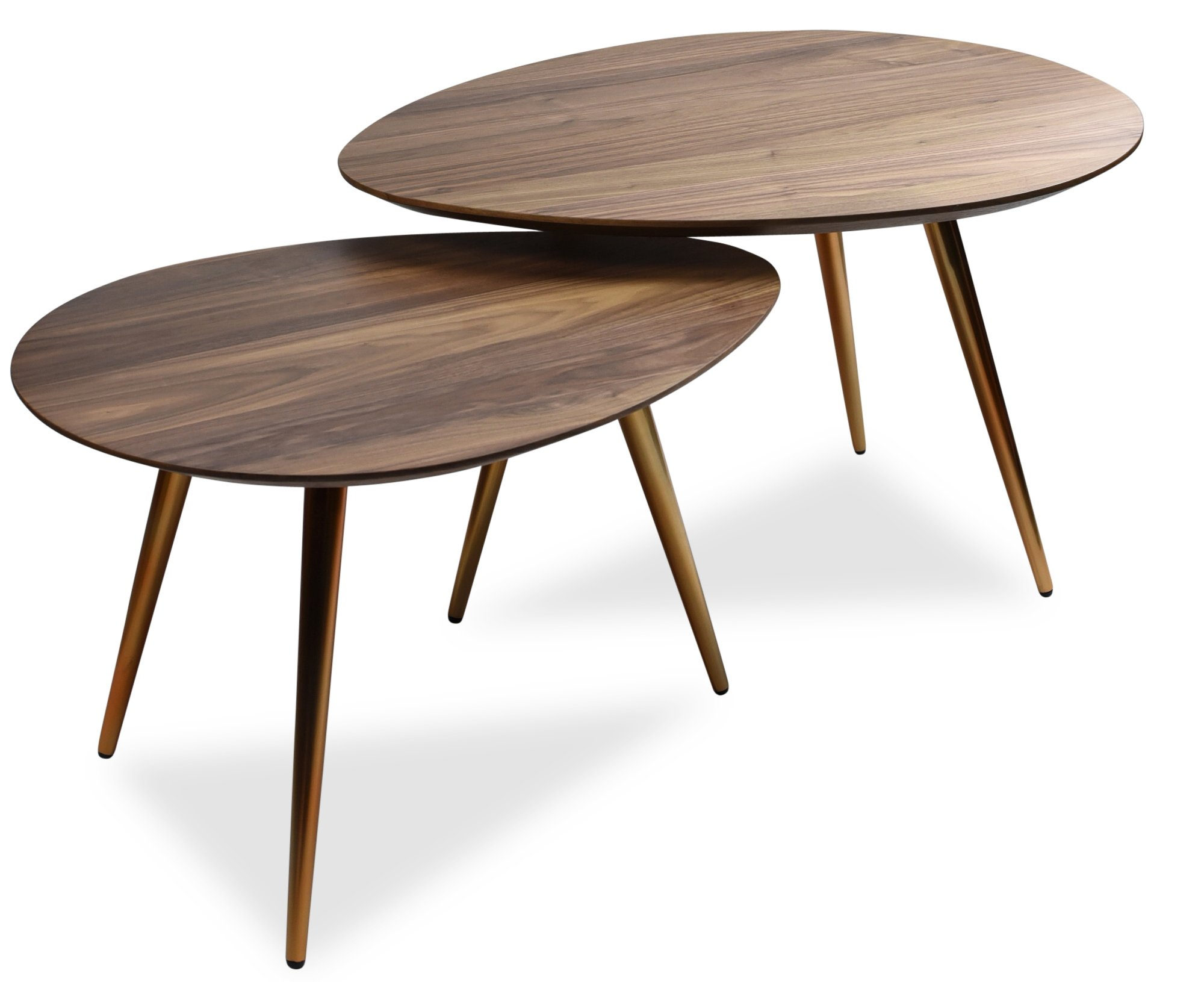 Mid Century Modern Coffee Table Set  by Edloe Finch - Coffee Tables for Living Room - Contemporary & Retro Low Walnut Wood Midcentury Nesting Table  - 2 Piece Set by Edloe Finch