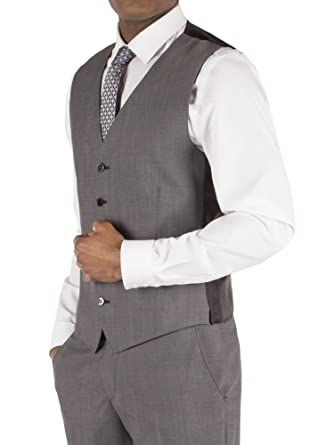 ccfa5740e29d Suit Direct Ben Sherman Silver Grey Tonic Slim Fit Waistcoat - BS1201289 Slim  Fit Mixer Waistcoat Grey, 46R: Amazon.co.uk: Clothing