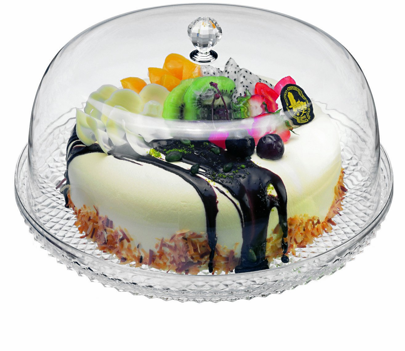 Paderno World Cuisine Acrylic Cake Tray and Cover, 12-1/2-Inch 44947-06