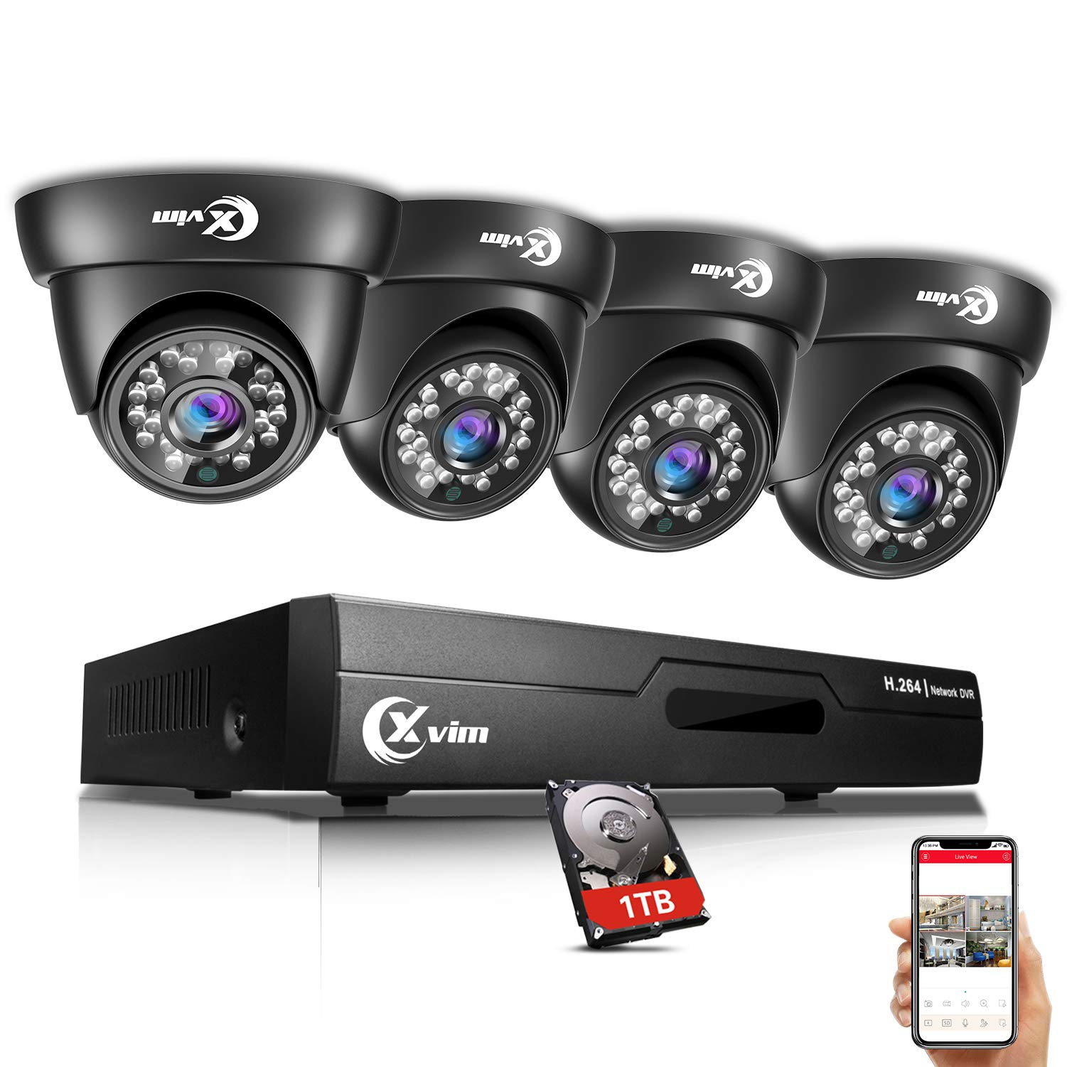 XVIM 8CH 720P Video Security Camera DVR System, 4 HD 1.0MP Indoor Outdoor Dome CCTV Surveillance Cameras with 85ft Night Vision, 1TB Hard Drive by X-VIM