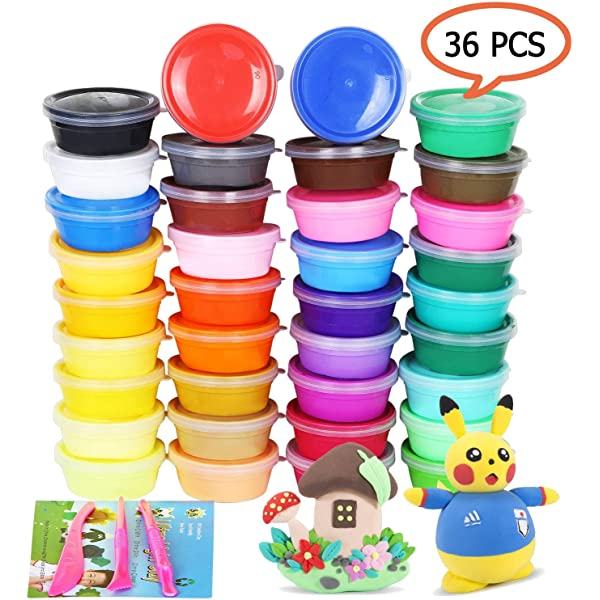 36 Colors Modeling Clay Best Gift for Kids No-Sticky and Non-Toxic ESAND Air Dry Clay Ultra Light Magic Modeling Clay with Modeling Tools and Project