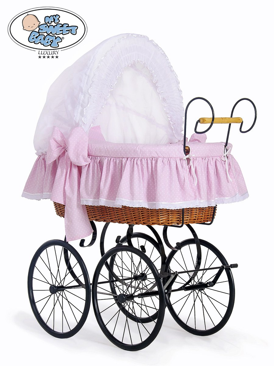retro baby furniture. NEW LUXURY RETRO - VINTAGE NATURAL WICKER CRIB / MOSES BASKET, BLACK METAL CHASSIS STAND, WHITE \u0026 PINK POLKA DOT BEDDING MATTRESS: Amazon.co.uk: Baby Retro Furniture M