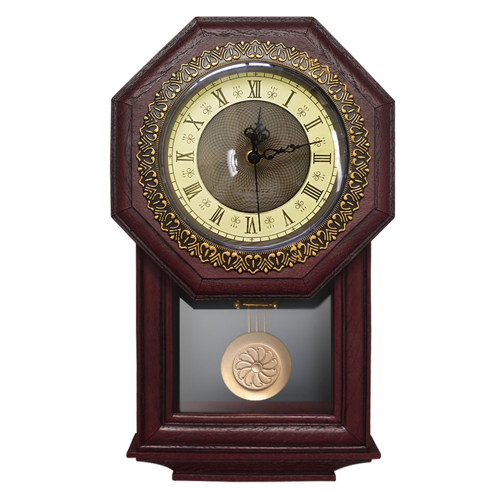 CDM product Giftgarden Silent Wall Clock with Pendulum - Antique Retro Non-Ticking Quartz Movement Clocks, Classical Decor for Bedroom, Living Room, Kitchen. Indoor Wall Decoration big image