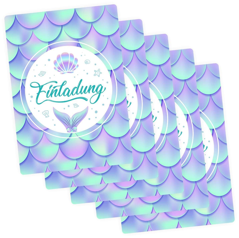 nikima Bonito para niños de 5 tarjetas de invitación sirena con purpurina Incluye 5 sobres transparentes Niños Cumpleaños Niña Invitación Fiesta: Amazon.es: ...
