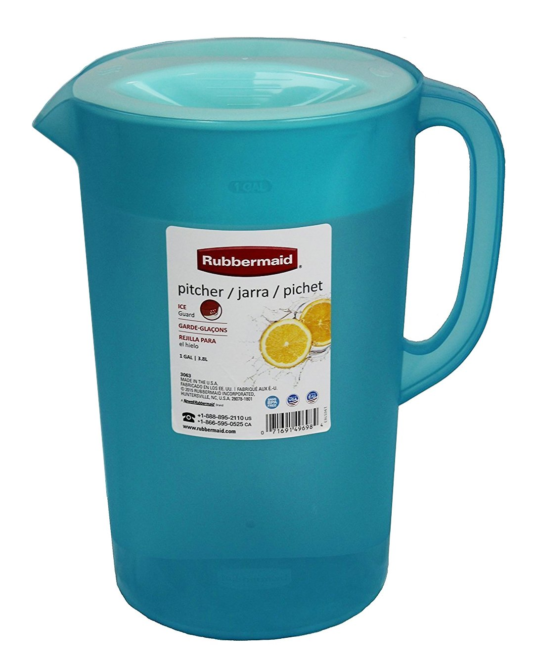 Rubbermaid 26074 Limited Edition Dishwasher Safe Pitcher, 1 Gallon, Blue
