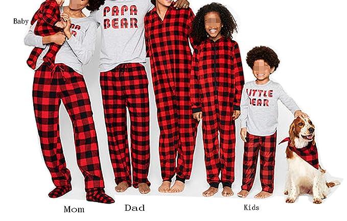 Matching Family Christmas Boys Girls Pajamas Papa Bear Letter Plaid Kids  Sleepwear Children Clothes (Baby 7b12c08e6