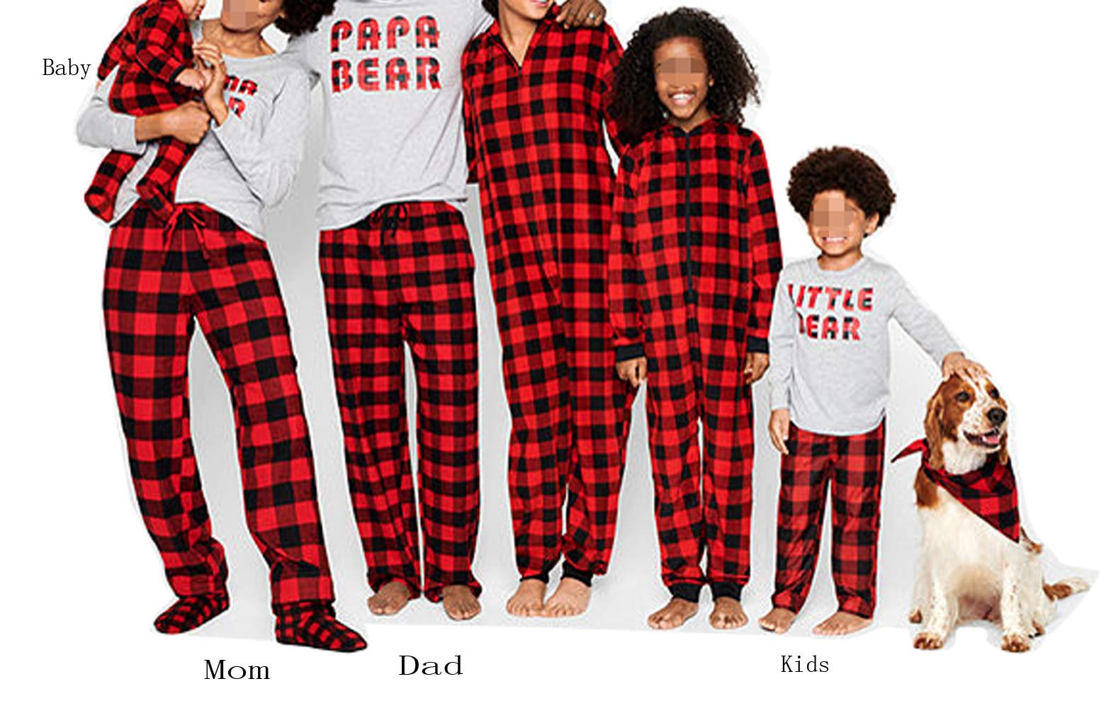 Matching Family Christmas Boys Girls Pajamas Papa Bear Letter Plaid Kids Sleepwear Children Clothes (Baby(0-3Months), Grey and Plaid)