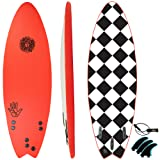 KONA SURF CO. The 5-5 Soft Top Foam Short Softboard Hybrid Boogie Bodyboard Surfboard Package Includes Fins and Leash in Red sz:5ft 5in