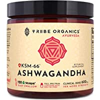 KSM-66 Organic Ashwagandha Capsules, Pure Root Powder Extract - 120 Vegetarian VCaps - Highest Potency 5% Withanolides - Stress & Anxiety Relief, Cortisol Manager, Adrenal Support, Thyroid Support