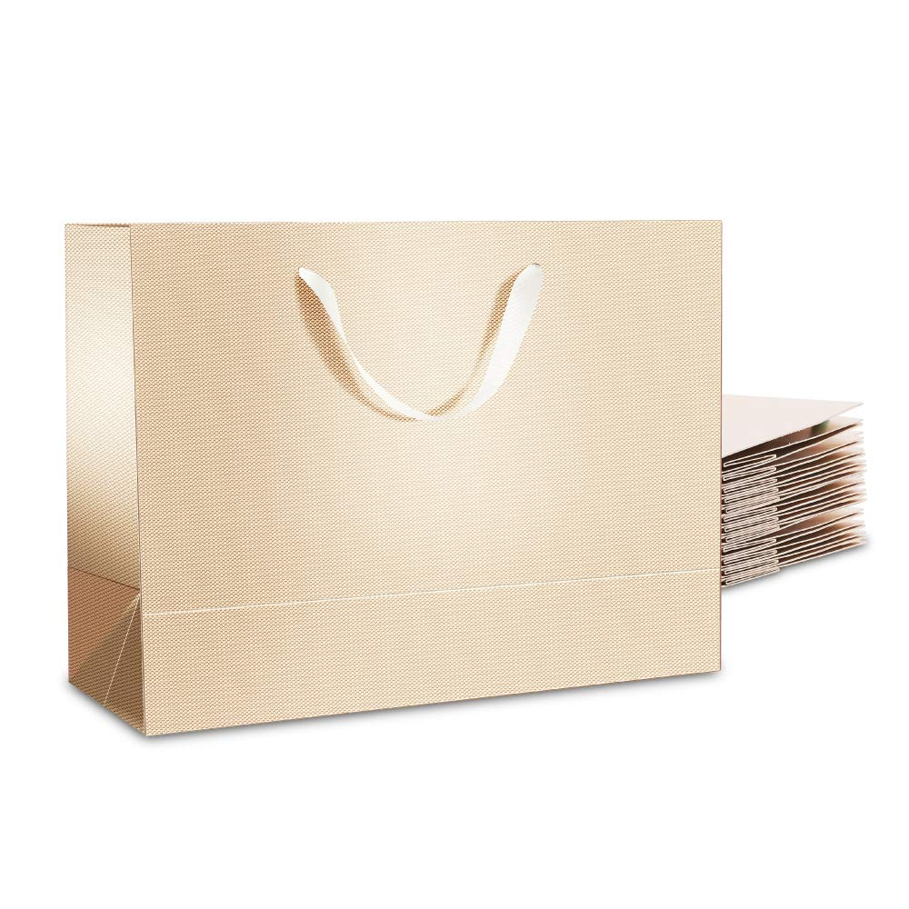 PACKQUEEN 12 Large Gift Bags 16x6x12 Inches, Extra Large Gift Bags with Handles, Gift Bags Large (Glossy Champagne Gold, Textured Finish)