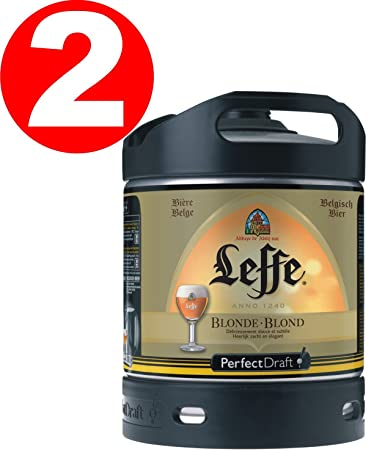 2 x Leffe cerveza de Bélgica Perfect Draft 6 litros barril 6,6 % vol