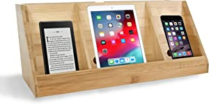 Device Charger Station | Bamboo Charging Station for Multiple Devices | Electronic Storage Organizer | Bamboo Desk Accessories | Desktop Phone Holder | Cellphone Stand