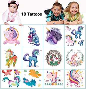 Dream Loom Temporary Tattoos for Kids Birthday Party, Unicorn Party  Supplies Party Favors,...