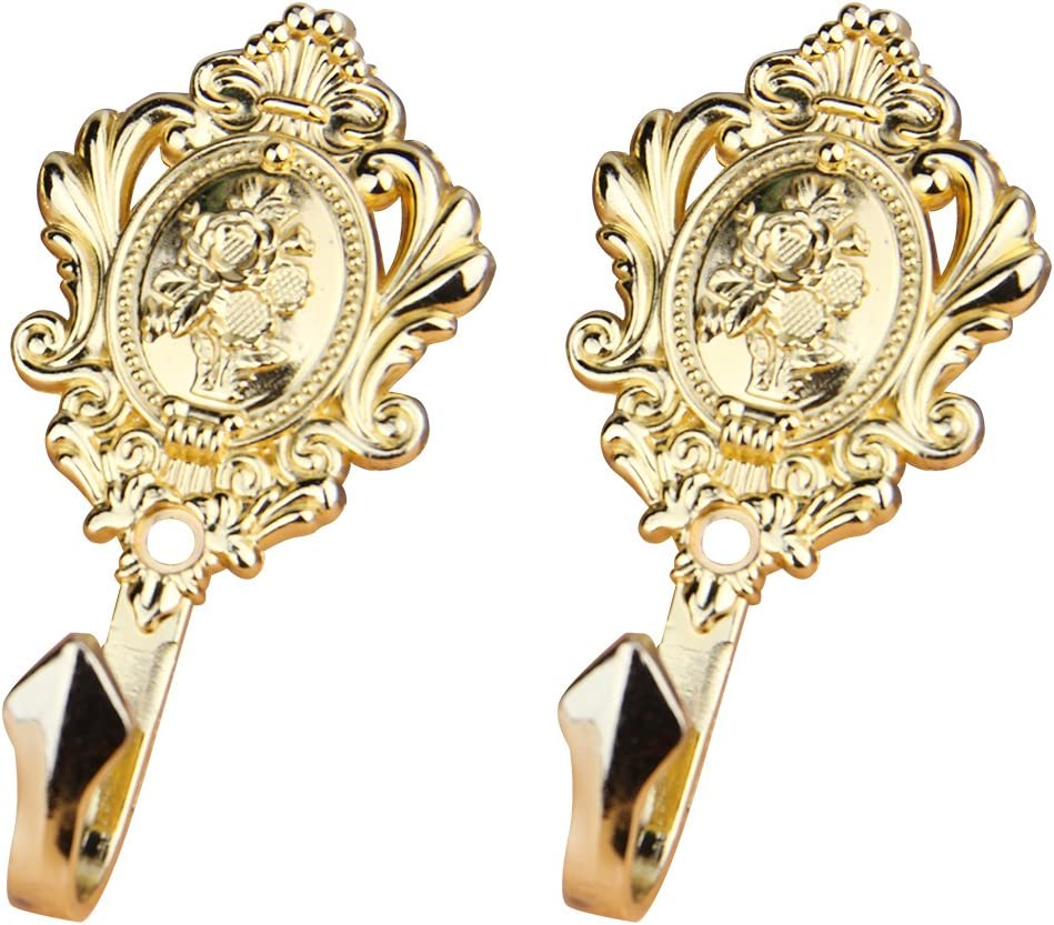 Gold WINOMO Pair of Zinc Alloy Vintage Drapery Hooks Rose Pattern Curtain Holdbacks