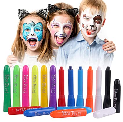 Amazoncom Luxbon 12 Colors Face Paint Crayons Kids Face Painting