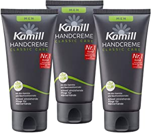 Kamill 3x75 ml Hand & Nail Cream MEN CLASSIC CARE with BIO Camomile, Bisabolol and Cotton Extract | Germany