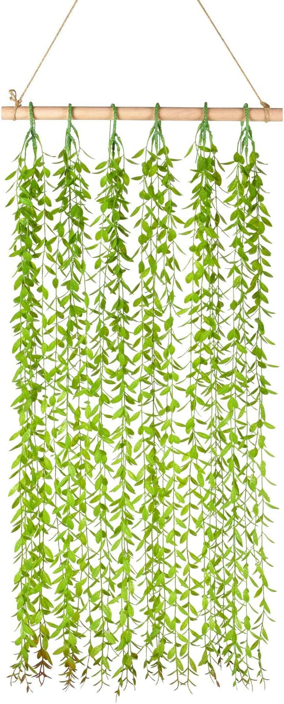 Lvydec Artificial Vines Wall Decor - Hanging Willow Leaves Greenery Plants for Bedroom Kitchen Home Wall Decoration