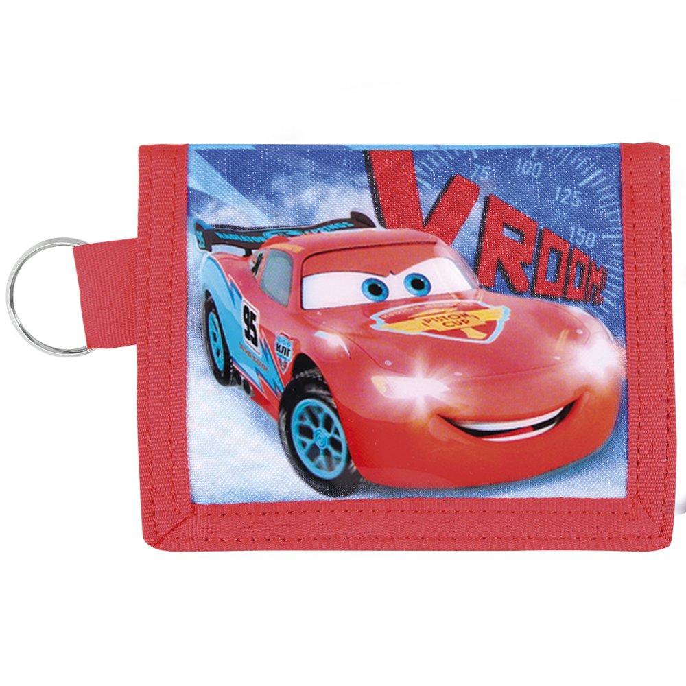 Kinder Geldbörse für Jungen Disney Cars - Portemonnaie mit Motiven aus Lightning McQueen - Roten und Blauen Brieftaschen mit Schlüsselanhänger - Perletti - 9x11 cm 13102