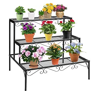 DOEWORKS 3 Tier Stair Style Metal Plant Stand, Garden Shelf for Large Flower Pot Display Rack Indoor Outdoor, Black
