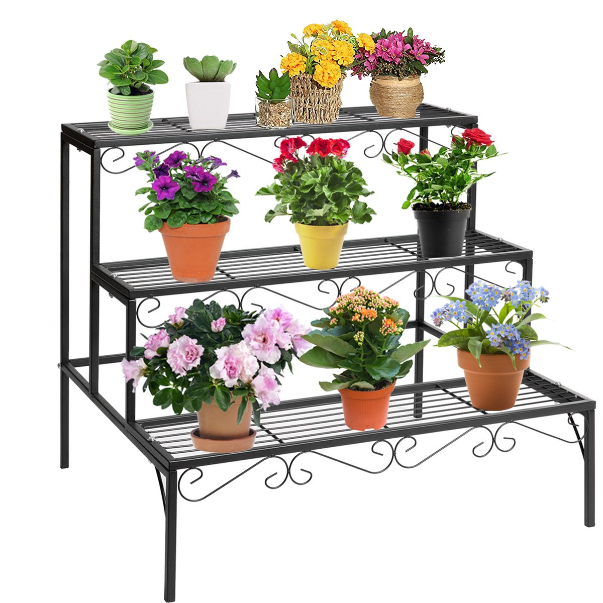 DOEWORKS 3 Tier Stair Style Metal Plant Stand, Garden Shelf for Large Flower Pot Display Rack Indoor Outdoor, Black by DOEWORKS