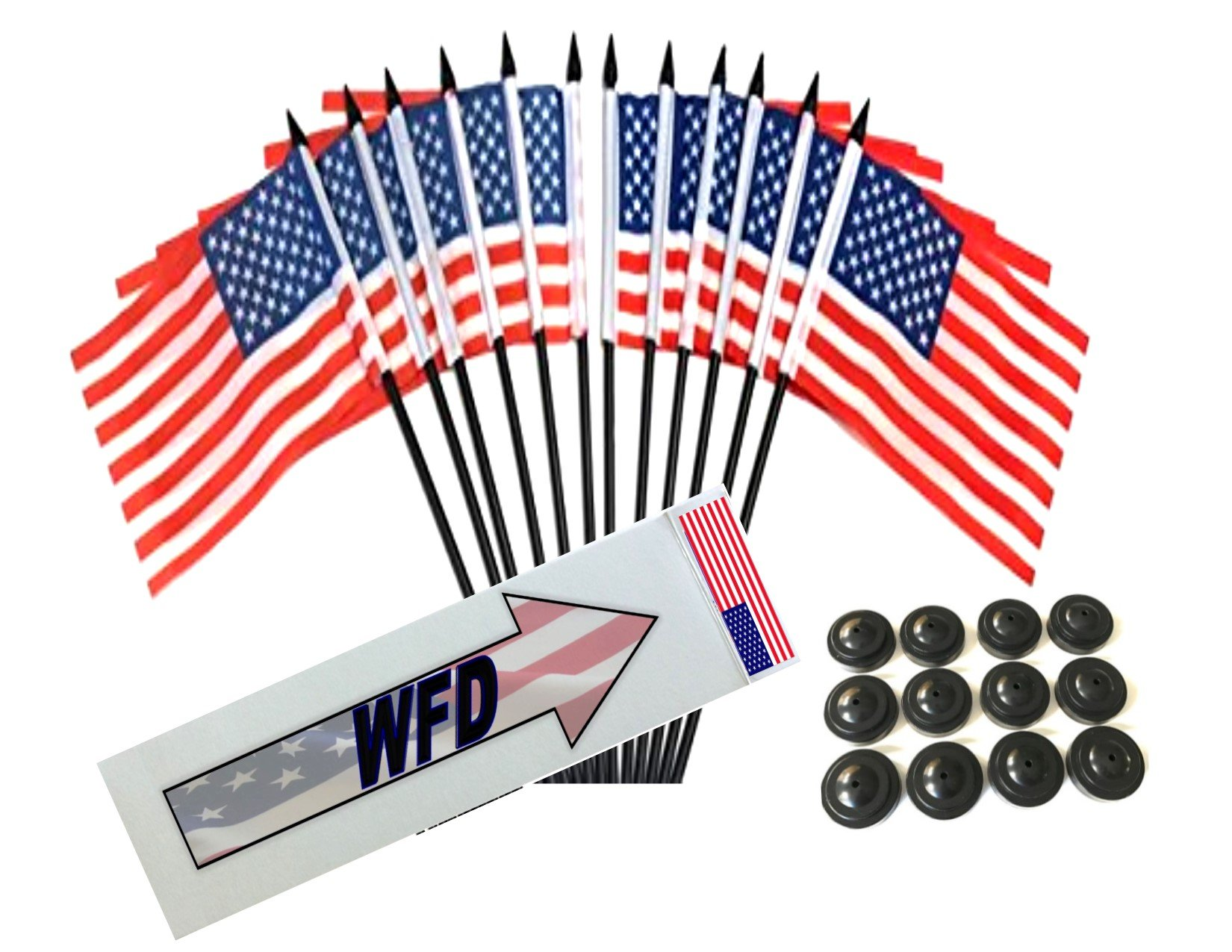 BOX of 12 United States 4''x6'' Miniature Desk & Table Flags With 12 Flag Stands, 4x6 United States Small Mini Stick Flags