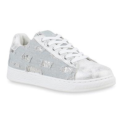 0bad16f45568 Damen Sneaker Low Denim Stoff Schuhe Turnschuhe Schnürer Flats 155577  Hellblau 36 Flandell