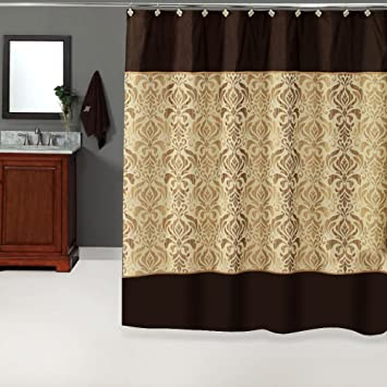 uphome luxury brown gold shiny damask bathroom shower curtain waterproof and mildewproof havyduty
