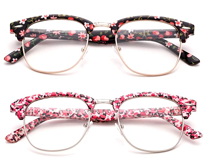 a439c5ceb15 Image Unavailable. Image not available for. Color  Oval Stylish Retro  Vintage Semi-Rimless Floral Classic ...