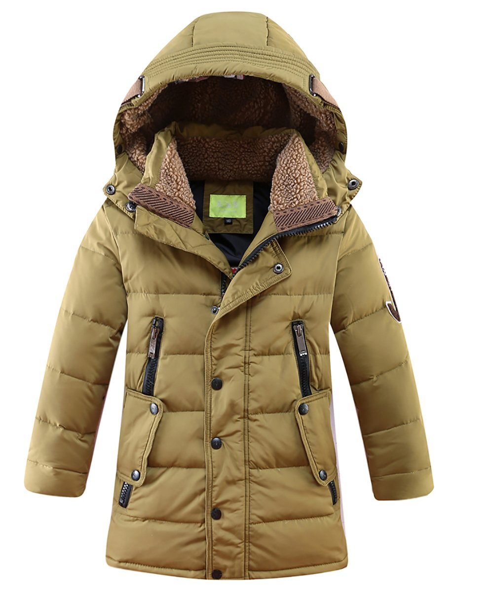 LISUEYNE Boys Kids Winter Hooded Down Coat Puffer Jacket for Big Boys Mid-Long DUOCAI LS006MY