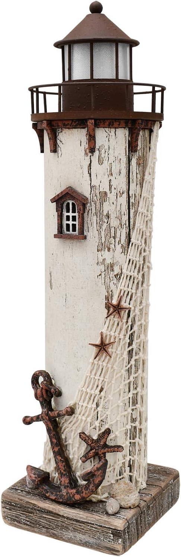 "Wooden Lighthouse Decor with Light, Decorative Nautical Lighthouse Rustic Ocean Sea Beach Themed Lighthouse Decoration, Handcrafted Tabletop Nautical Themed Home Decor Bathroom Decor (14.75""H)"