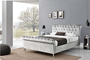 new style d227d aff49 UKBED MANUFACTURER CHESTERFIELD SLEIGH STYLE SILVER UPHOLSTERED CRUSHED  VELVET DIAMONDS BEDS FRAMES 4 FT SMALL DOUBLE