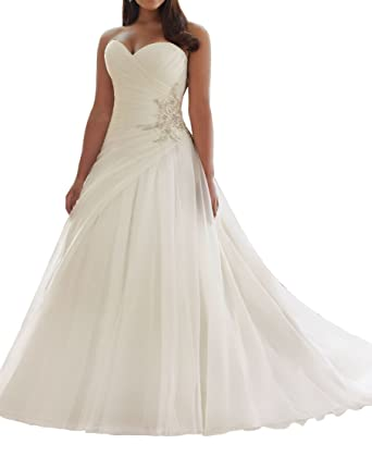 Amazon.com: Women\'s Plus Bridal Gown Mermaid Bridal Dresses ...