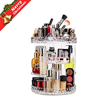 Makeup Organizer 360 Degree Rotating Adjustable Vanity Organizers Bathroom  Shelves Countertop Organizer Cosmetic Storage, Crystal