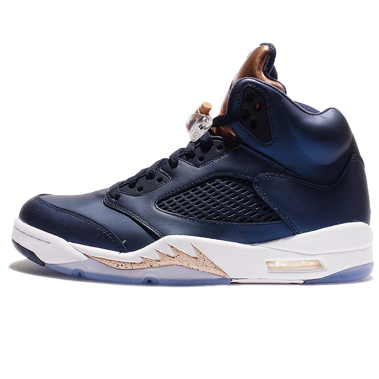 Nike Mens AIR JORDAN 5 RETRO, OBSIDIAN/WHITE-MTLC RED BRONZE, 12.5 by NIKE