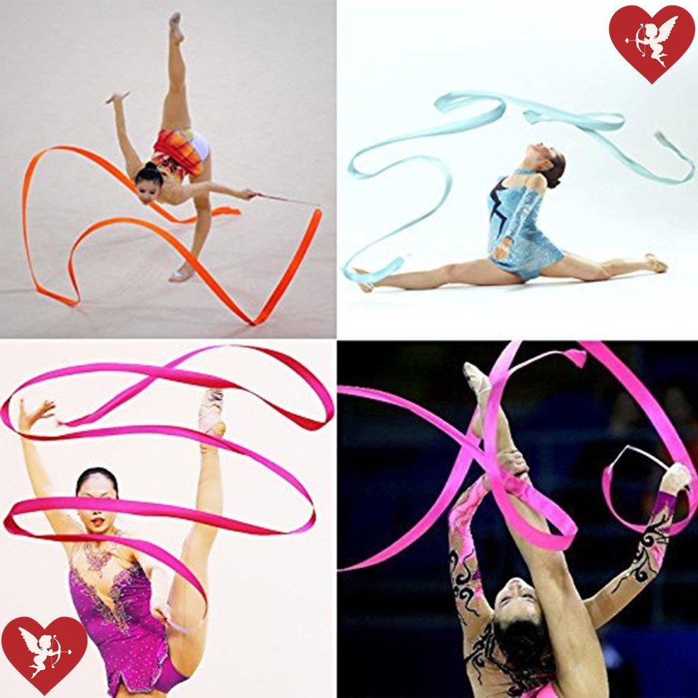 SS Cohen10 Colors Gymnastic Dance Ribbon Streamer 4M Dancing Baton Gym Rhythmic Ribbons with Wand Art Artistic Gymnastics Ballet Twirling Rod Stick for Girls Kids Baton Twirling