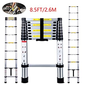 Telescoping Ladder Jason 8.5FT   2.6M Max Load 330lbs Aluminum Ladder Extendable Ladder with EN131 and CE Standard [Step A +++](8.5FT/2.6M)