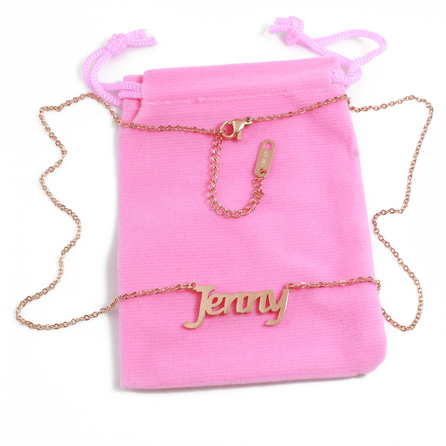 a869eb629186b Amazon.com: Zacria Jenny Name Necklace - 18ct Rose Gold Plated: Jewelry