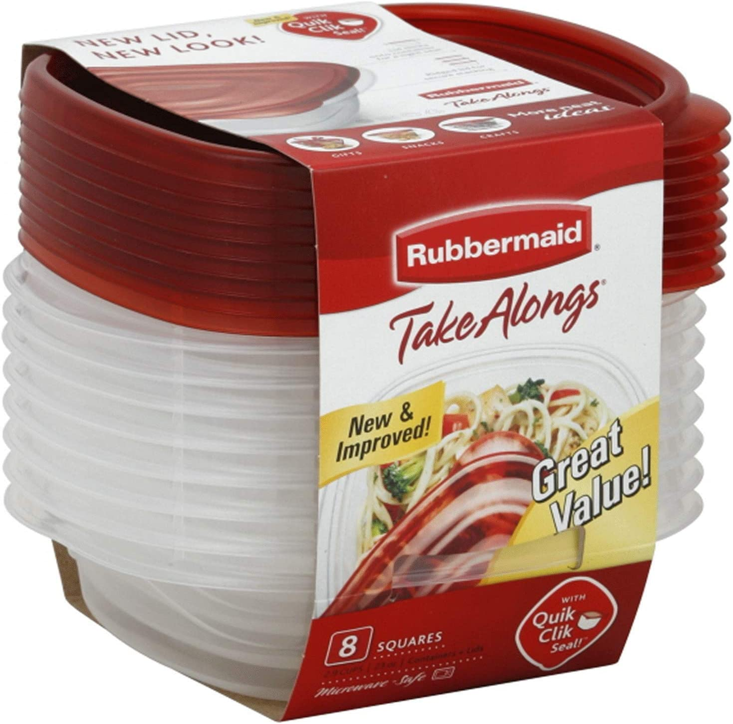 Rubbermaid 7F58 8-Piece TakeAlongs Food Storage Container Set, Sandwich, Red