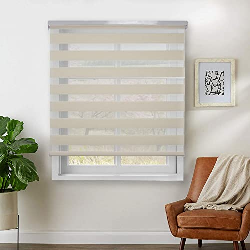 Rama Rose Dual Layer Sheer Roller Shades Combi Window Blind,Day and Night Blind Curtain,48 x 72 , Beige