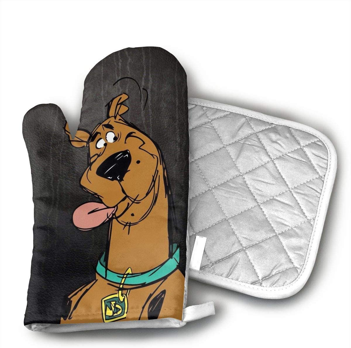 ECEED DAI Scooby Doo Oven Mitts,with Potholders Oven Gloves,Insulated Quilted Cotton Potholders