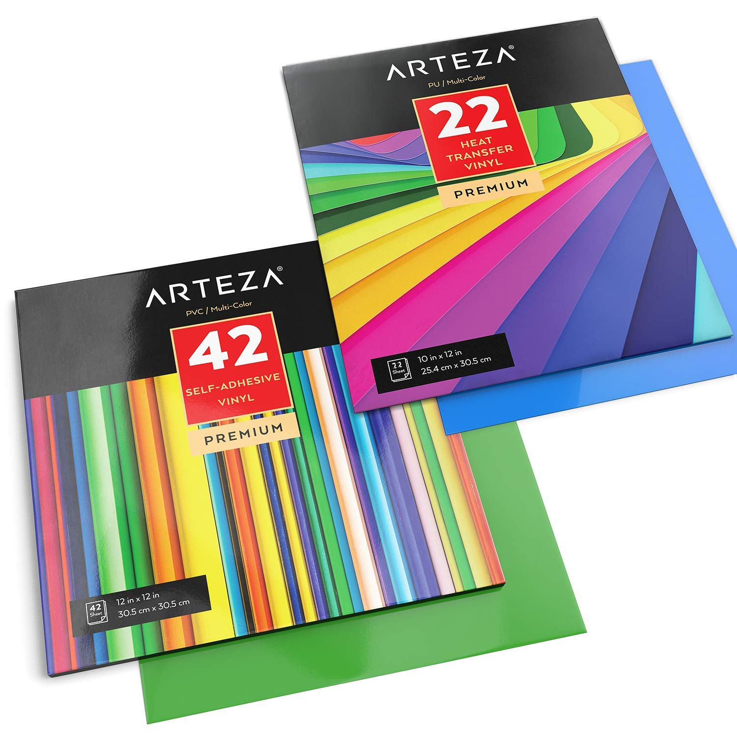 ARTEZA Vinyl Lover's Bundle, Heat Transfer Vinyl Set of 22 and Adhesive Vinyl Sheets Set of 42 (Include Rotary Cutter 45mm)