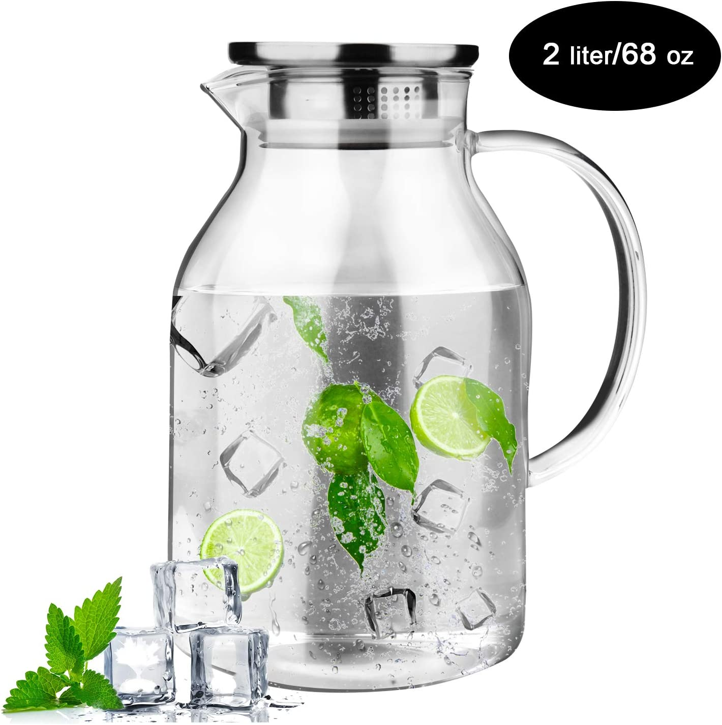 68 oz Glass Pitcher, OAMCEG Glass Water Jug/Carafe with Drip-Free Stainless Steel Lid for Hot/Cold Water, Iced Tea and Juice Beverage